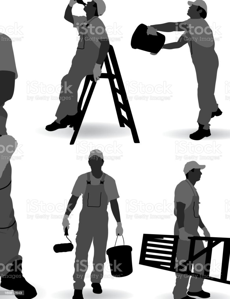 Pictures of a faceless painter in different modes of work royalty-free stock vector art