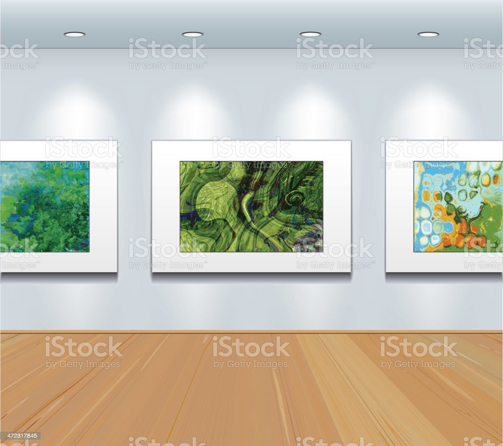 Pictures  on the wall at art gallery vector art illustration