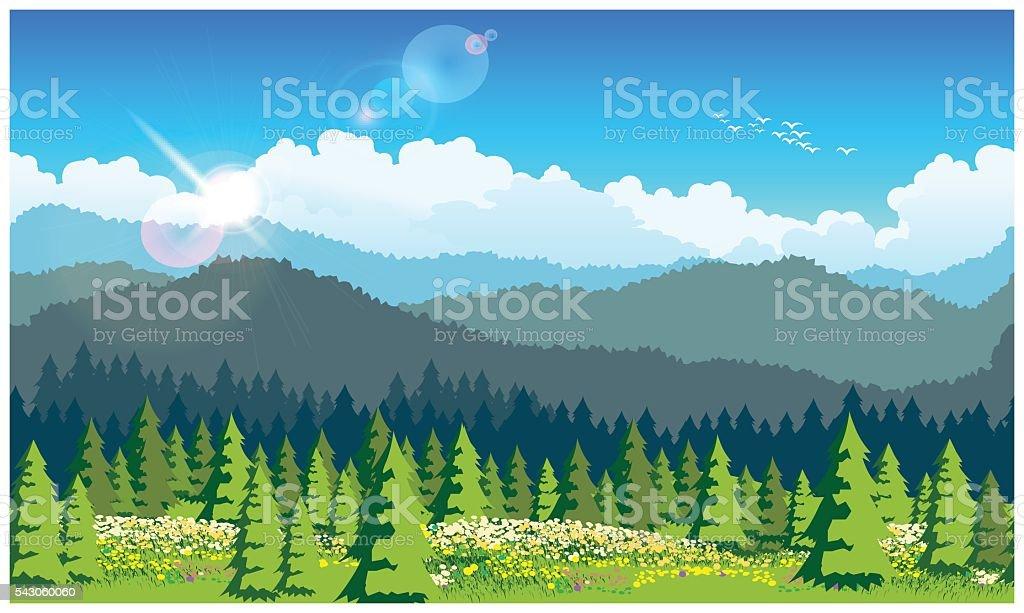 picturesque forest vector art illustration