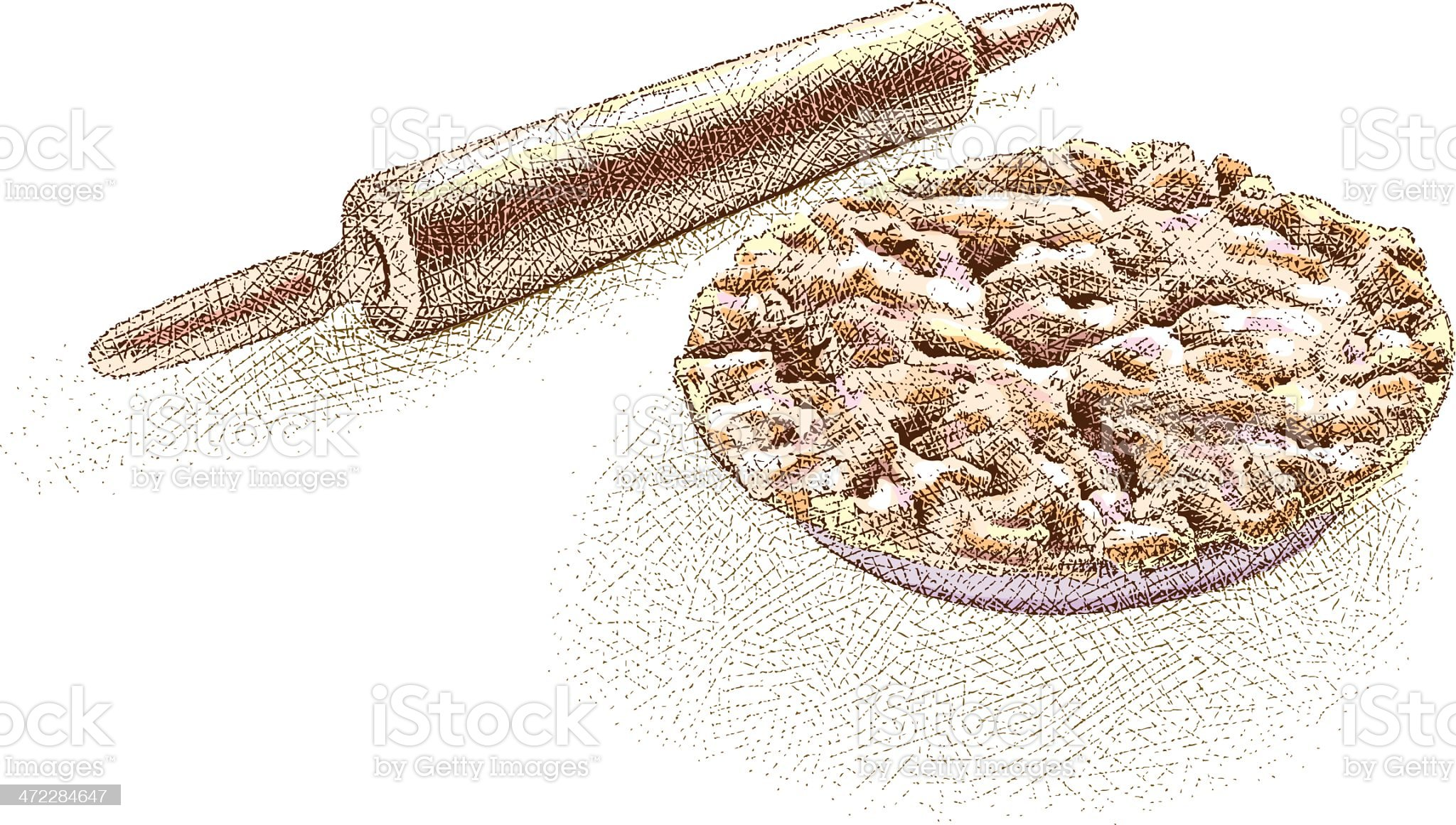 Pie and Rolling Pin Etching royalty-free stock vector art