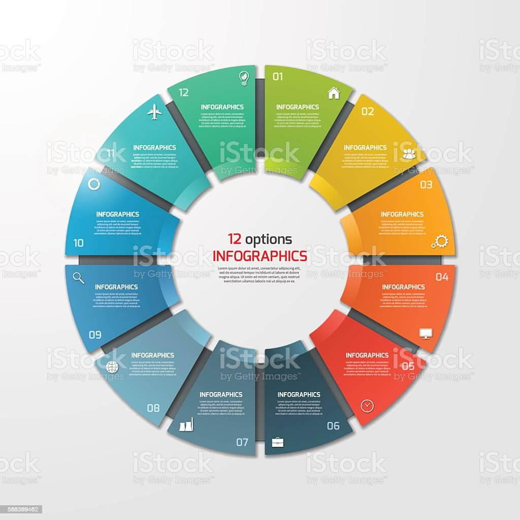 Pie chart circle infographic template with 12 options. – Vektorgrafik