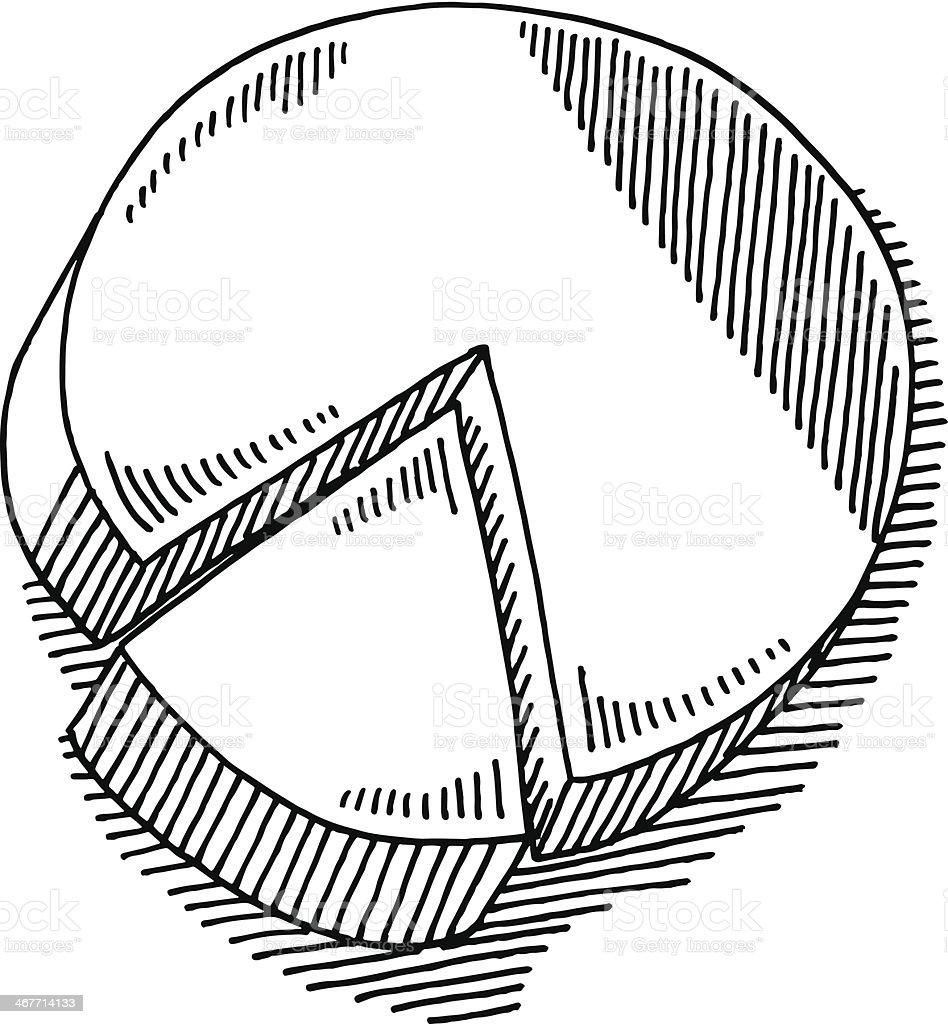 Pie Chart Drawing vector art illustration