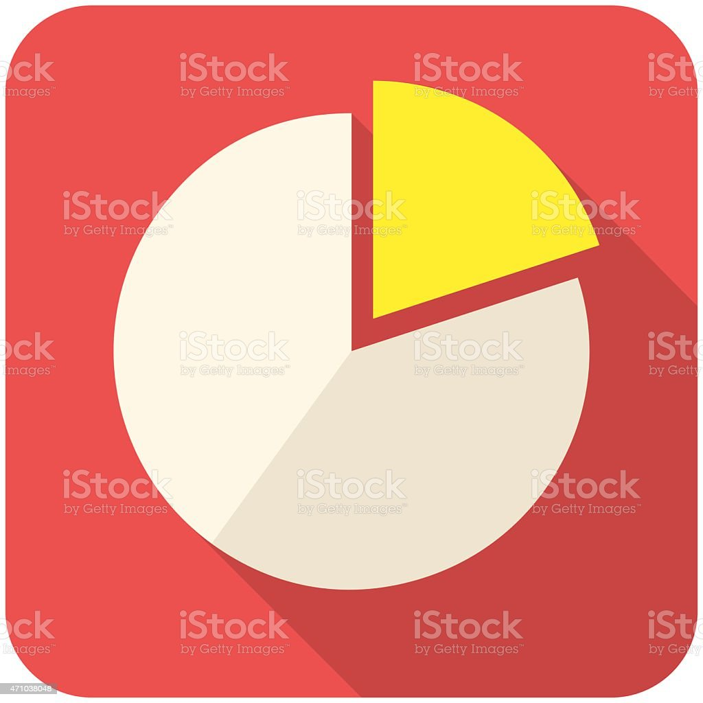 Pie chart flat vector icon red vector art illustration