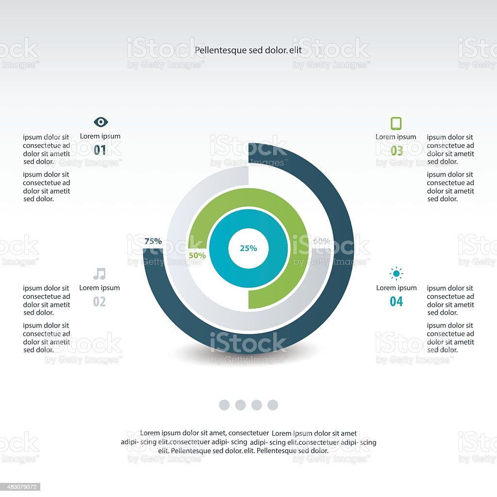 Pie chart graphic template for business design, infographics, re vector art illustration