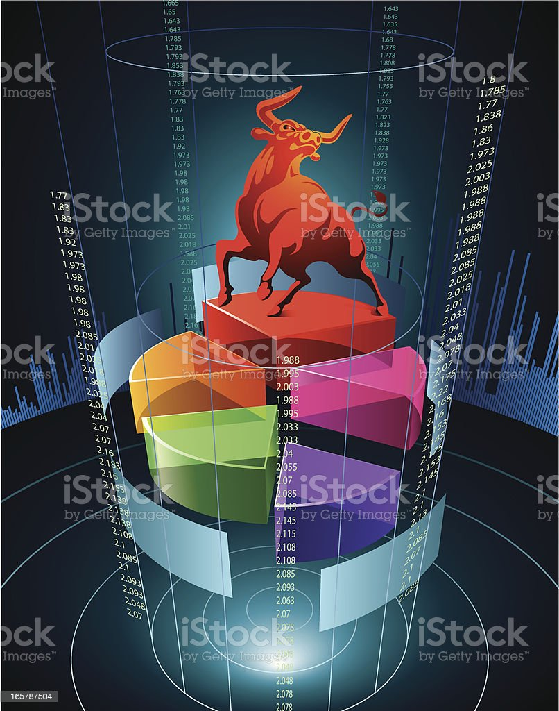 A pie chart idea with a bull on top vector art illustration