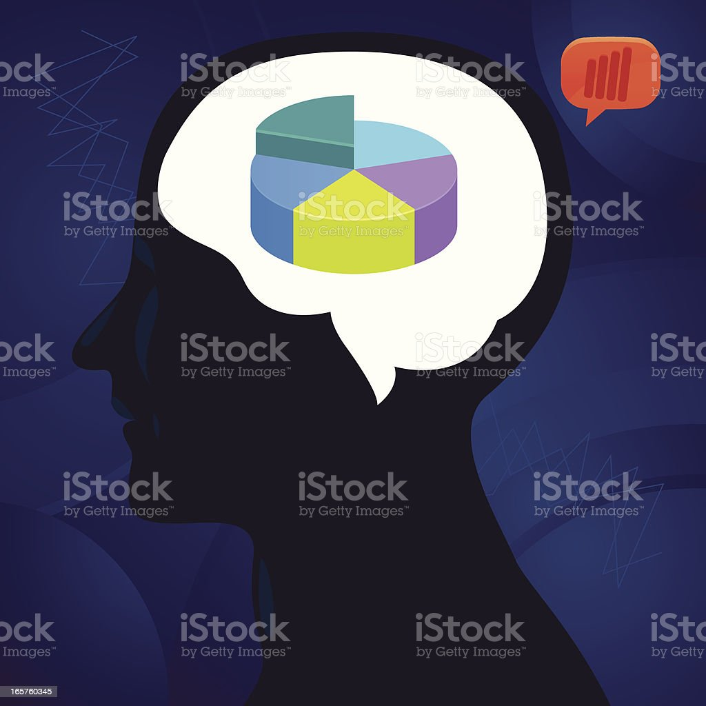 Pie chart inside head royalty-free stock vector art