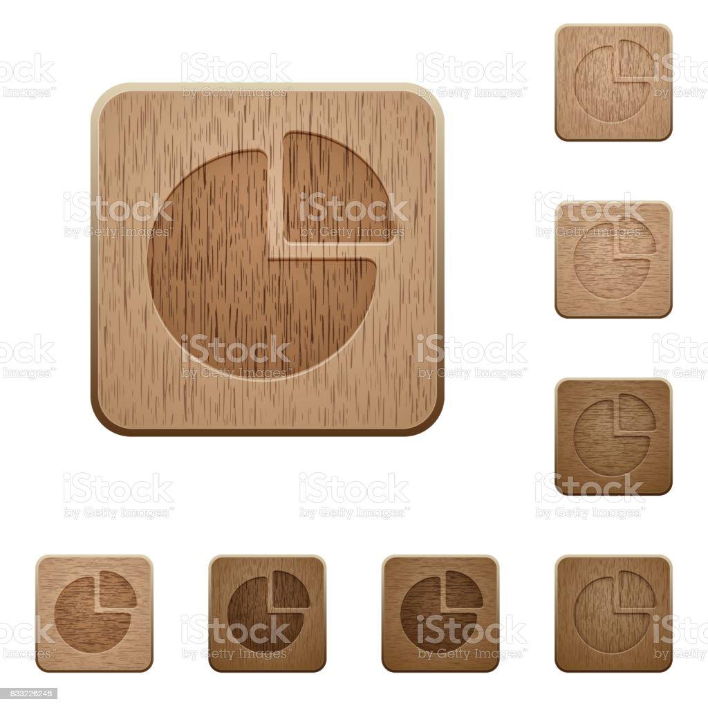 Pie chart wooden buttons vector art illustration