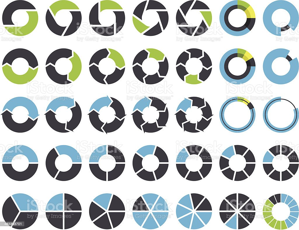 Pie charts and circular graph infographic kit vector art illustration