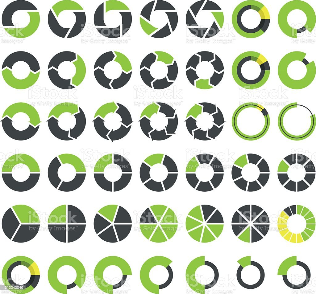 Pie charts and circular graph infographics set vector art illustration