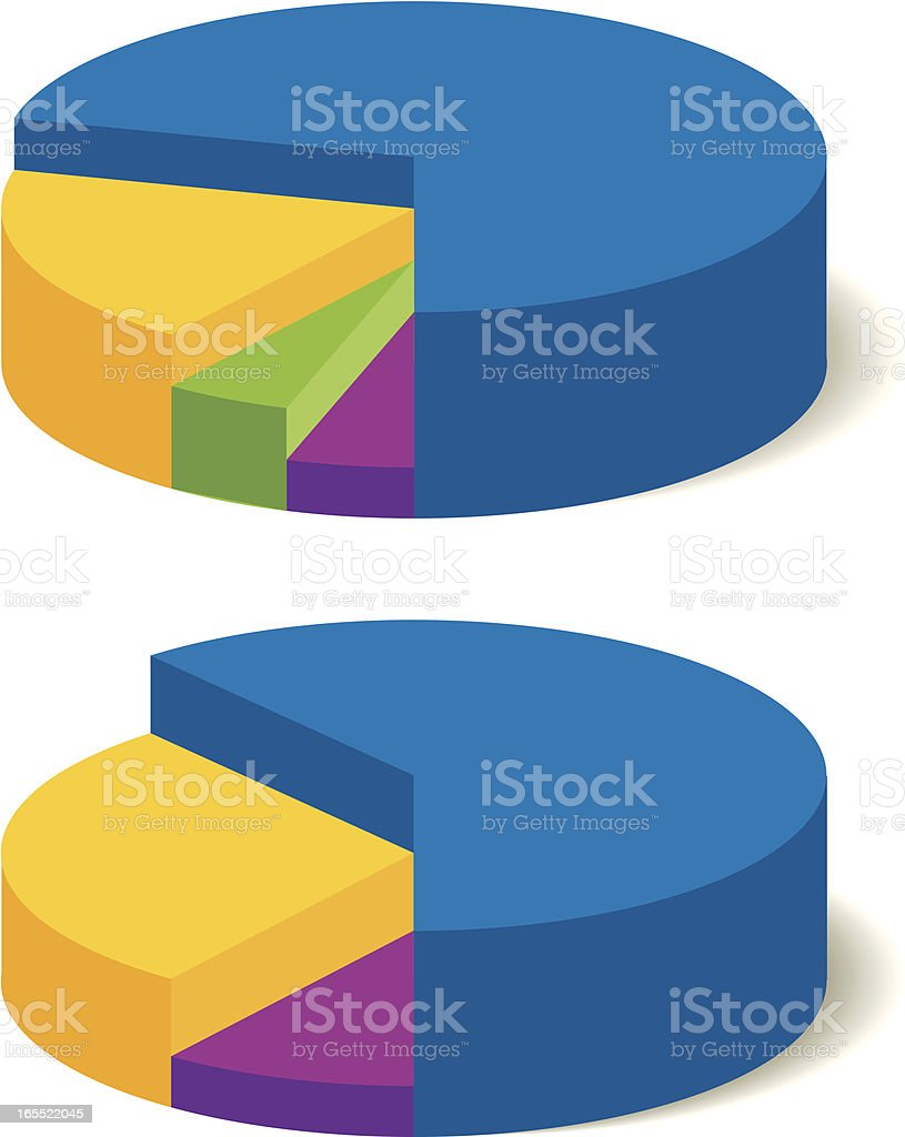 Pie charts in various colors and shapes royalty-free stock vector art