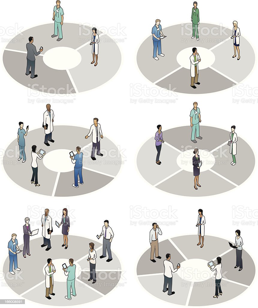 Pie Charts with Healthcare Professionals vector art illustration
