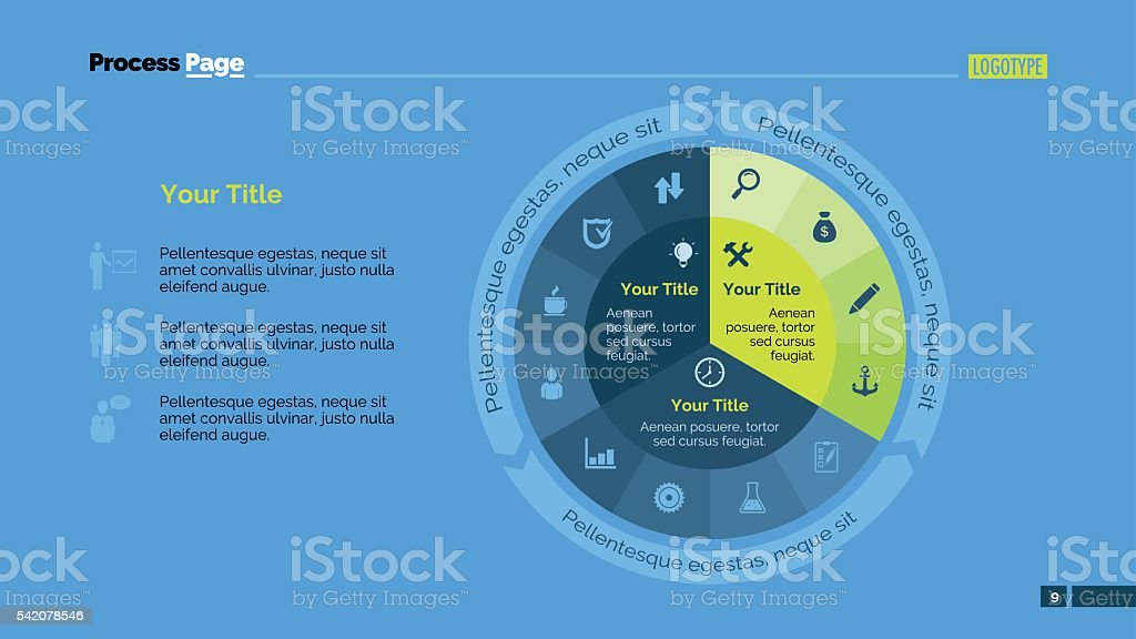 Pie Diagram Slide Template vector art illustration