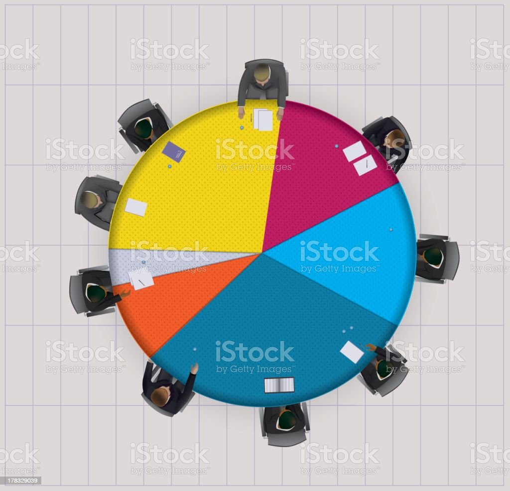Pie graphic board meeting royalty-free stock vector art