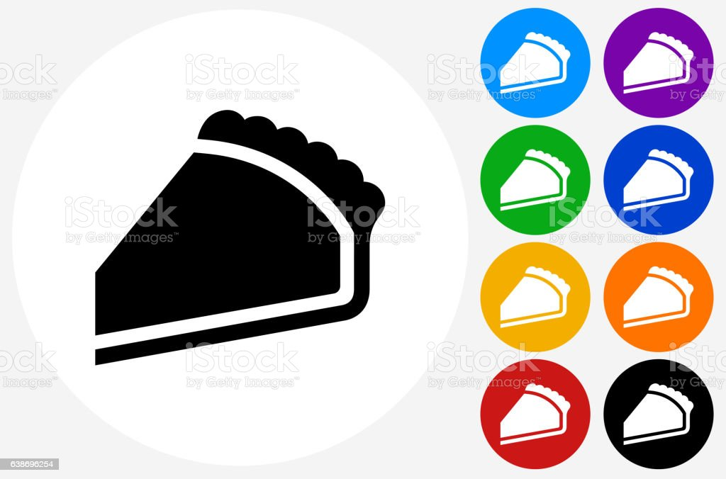 Pie Icon on Flat Color Circle Buttons vector art illustration