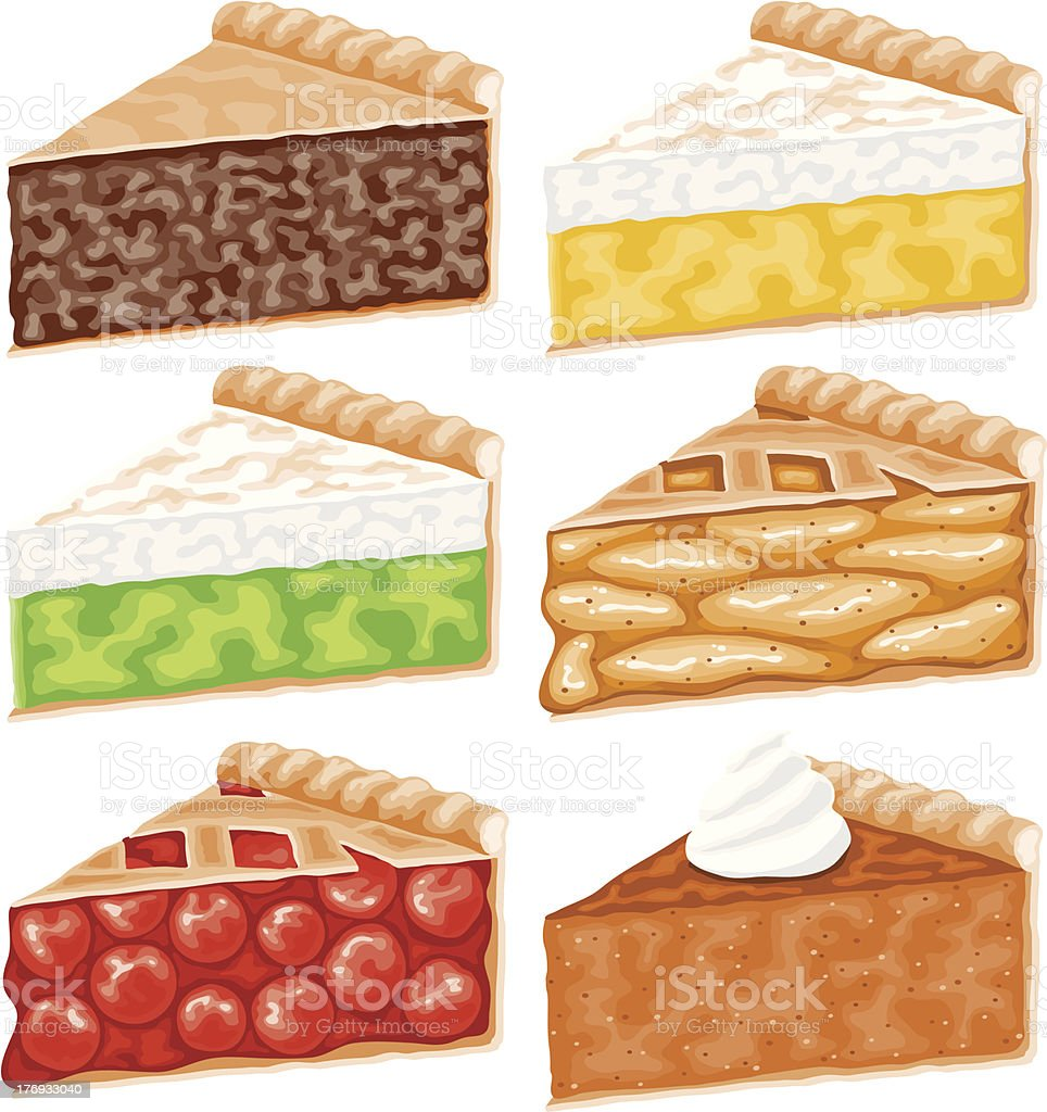 Pie Slices Icon Set vector art illustration