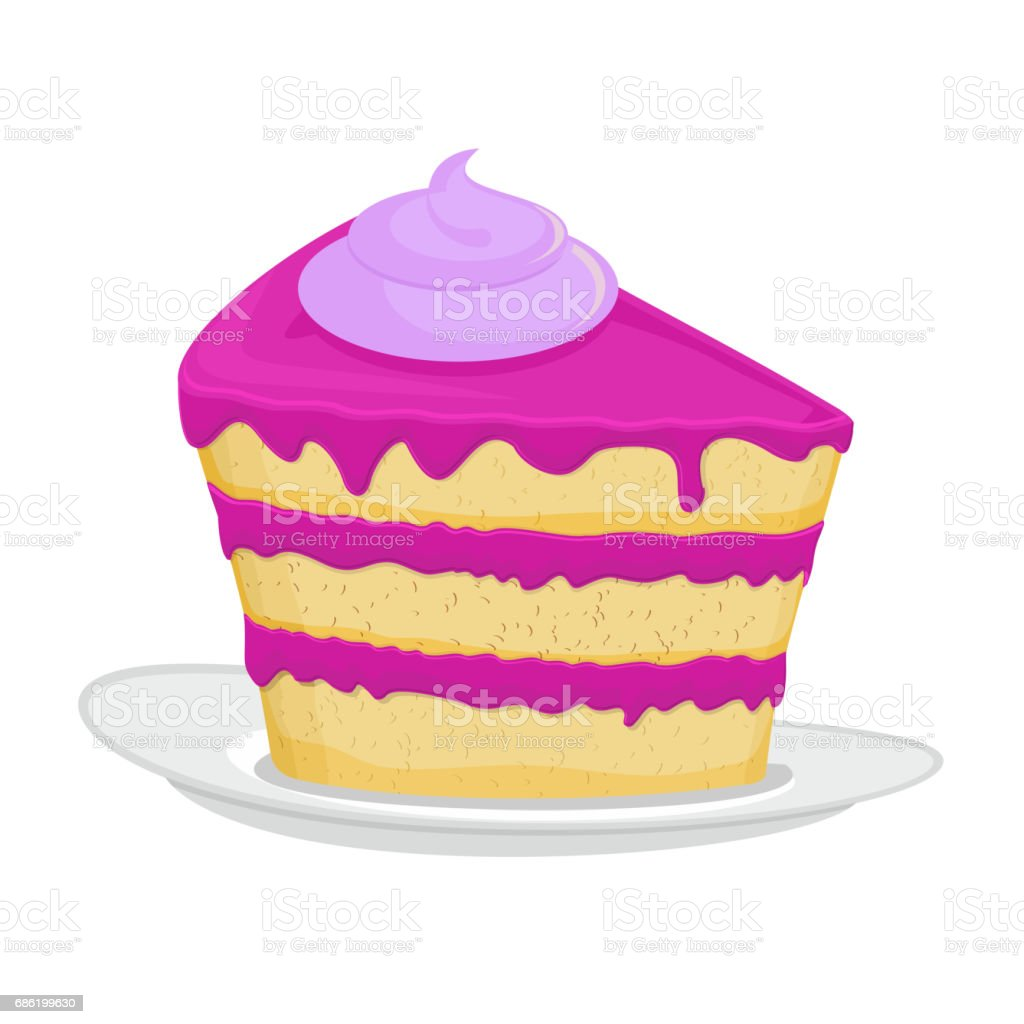Piece of cake on plate. pie isolated. Dessert on white background. Sweets cakes. Cream and biscuit. Birthday confectionery food vector art illustration