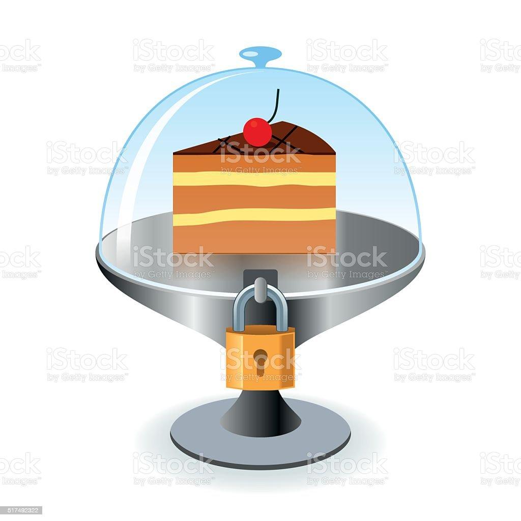 Piece of cake under lock and key vector art illustration