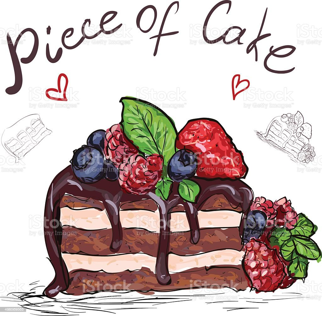 Piece of Cake vector art illustration