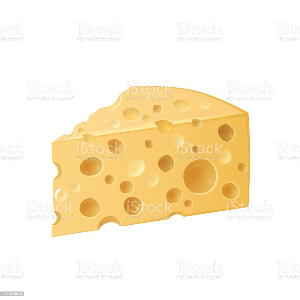 Piece of cheese vector art illustration
