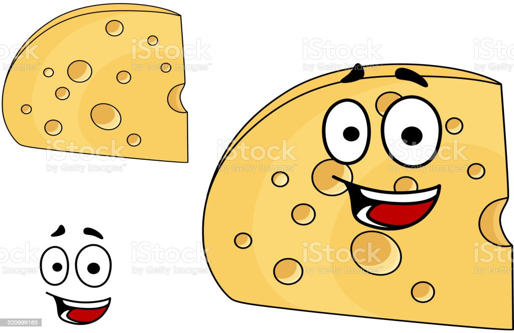 Piece of cheese with holes and a smiling face vector art illustration