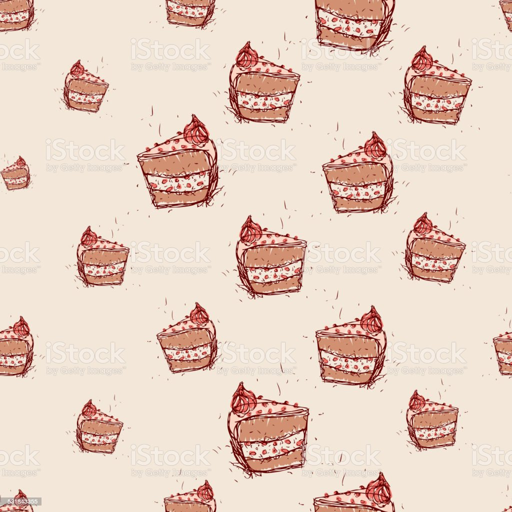 piece of chocolate cake Hand drawn sketch pink background.seamless pattern vector art illustration