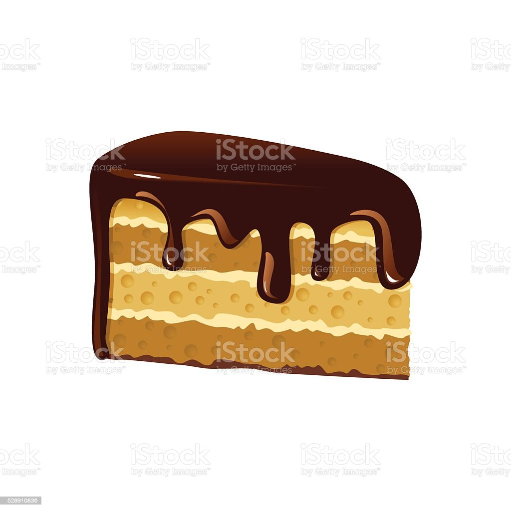 Piece of chocolate cake. vector art illustration