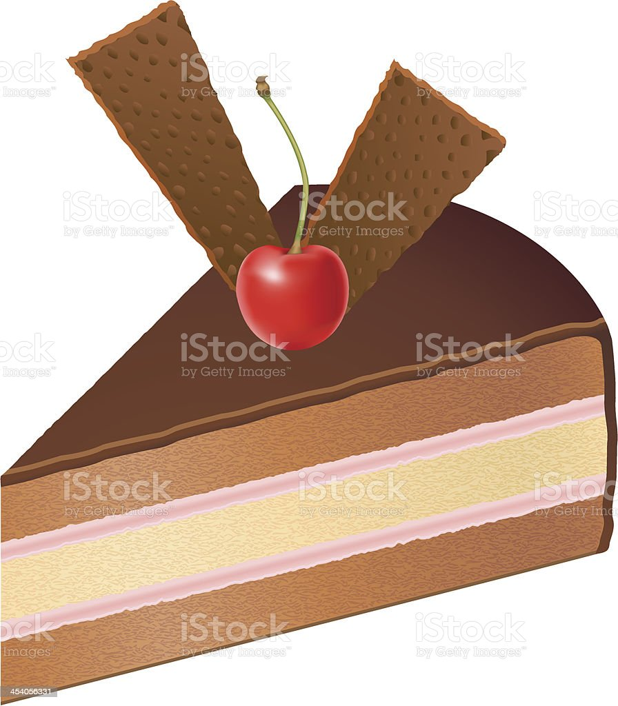 piece of chocolate cake with cherries vector illustration royalty-free stock vector art