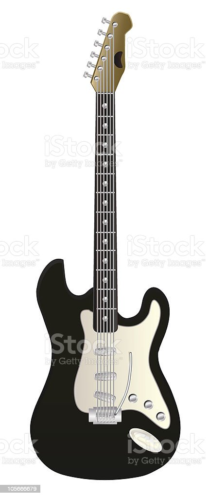 A piece of electric guitar in white background vector art illustration