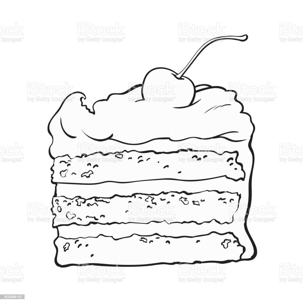 Piece of layered cake with vanilla cream and cherry decoration vector art illustration