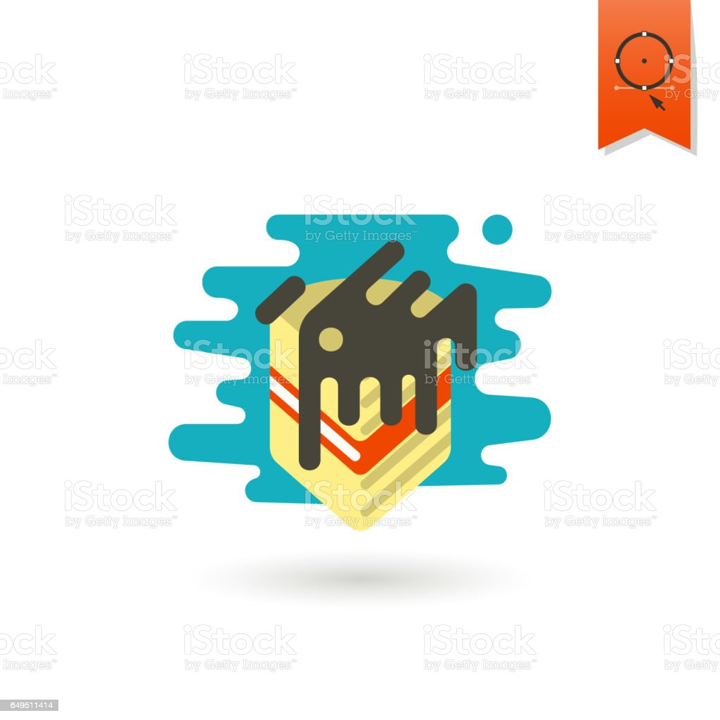 Piece of Layered Cheesecake with Chocolate vector art illustration