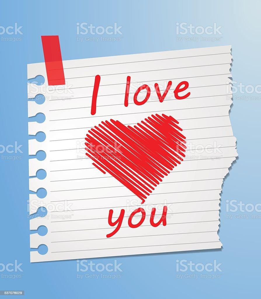 Morceau de papier love you stock vecteur libres de droits libre de droits