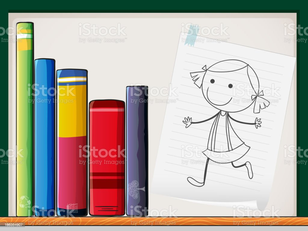 piece of paper with girl drawing beside the books royalty-free stock vector art
