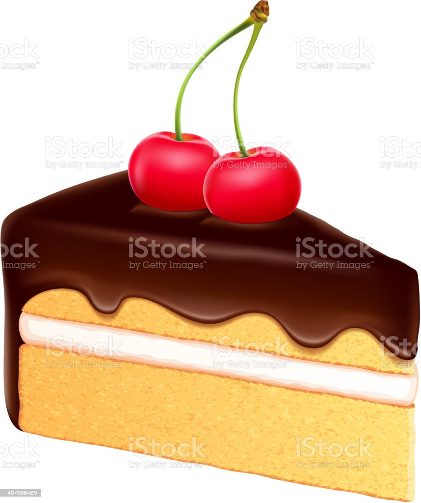 Piece of sponge cake with creamy filling and chocolate frosting. vector art illustration