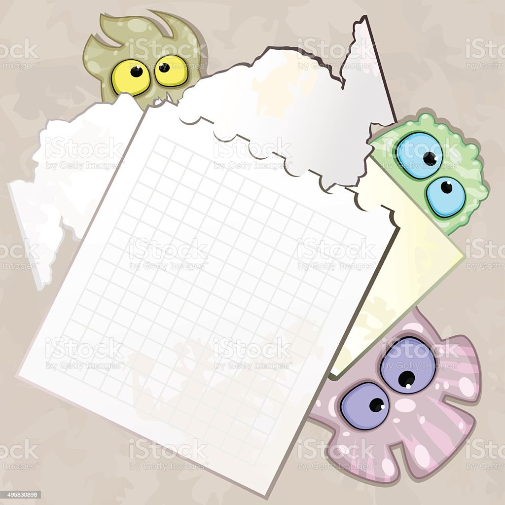 Pieces of paper with bizarre creatures vector art illustration