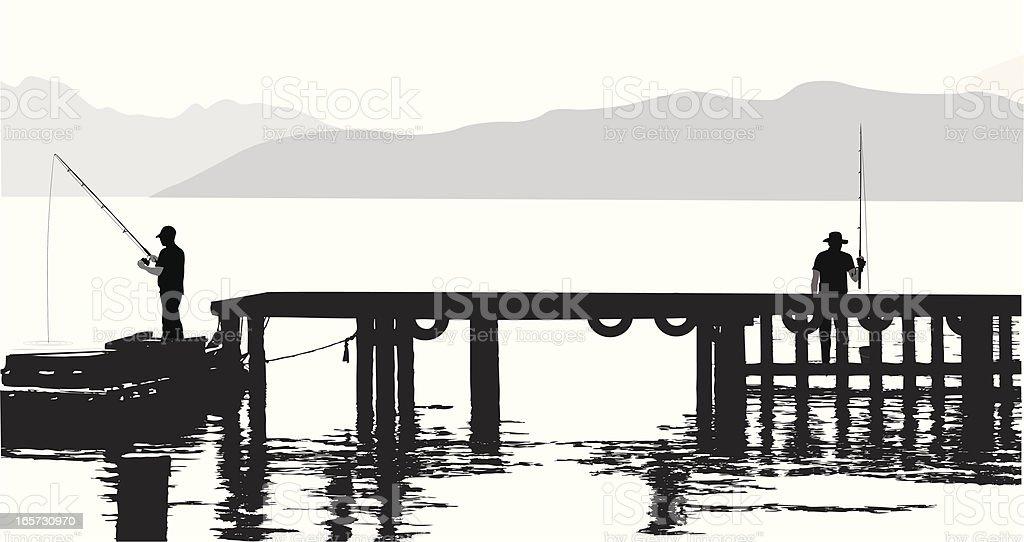 Pier Fishing Vector Silhouette vector art illustration