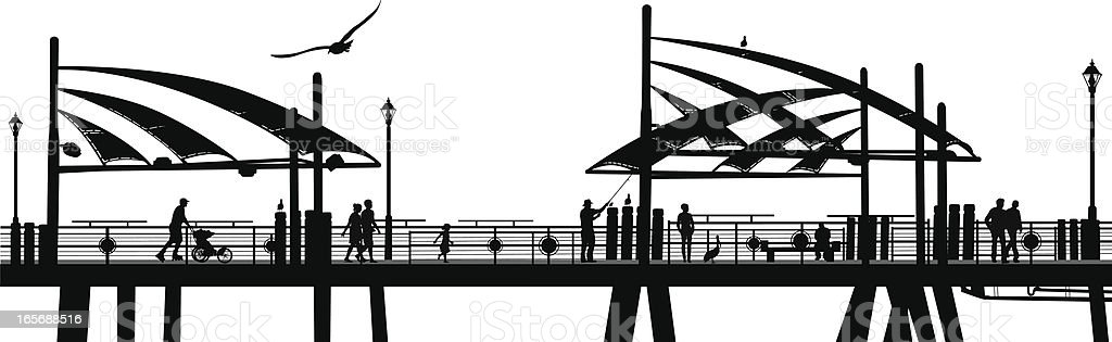 Pier One Vector Silhouette vector art illustration