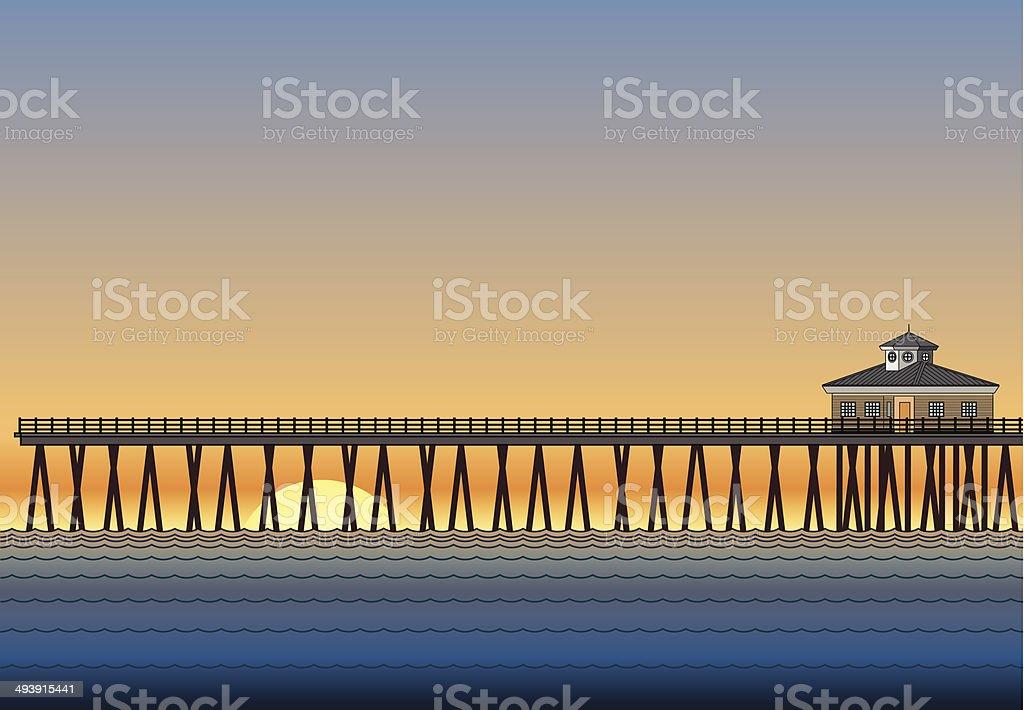 Pier With Sunset vector art illustration
