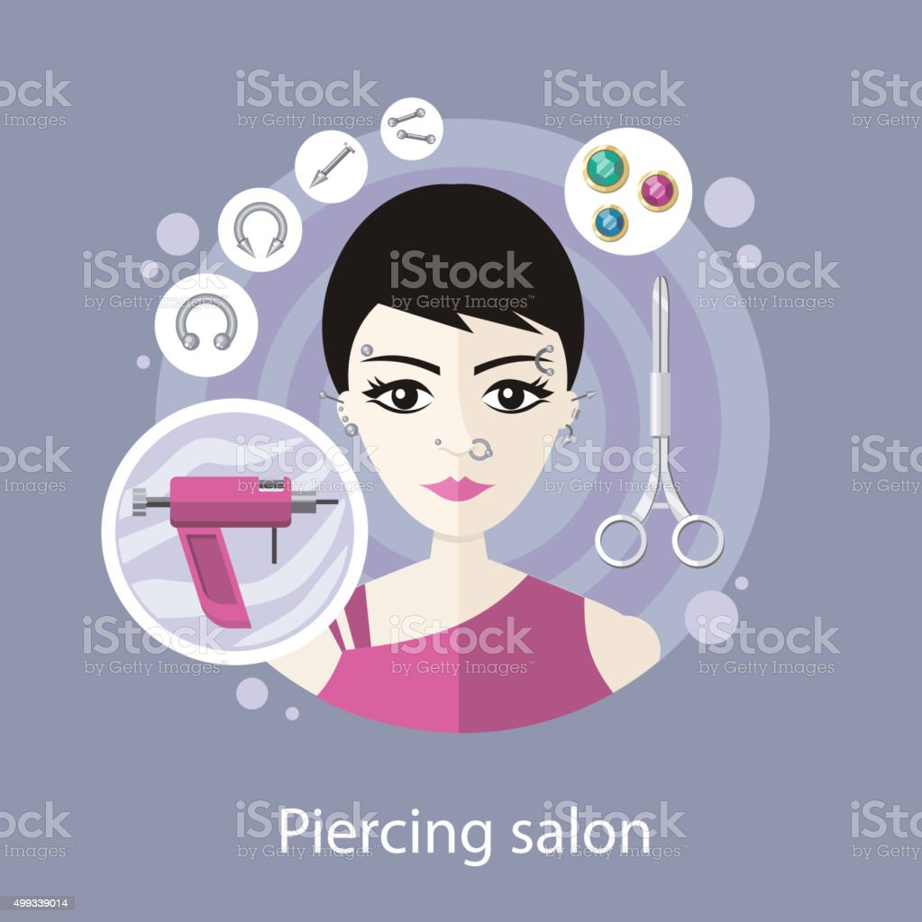 Piercing Salon Flat Style Design vector art illustration