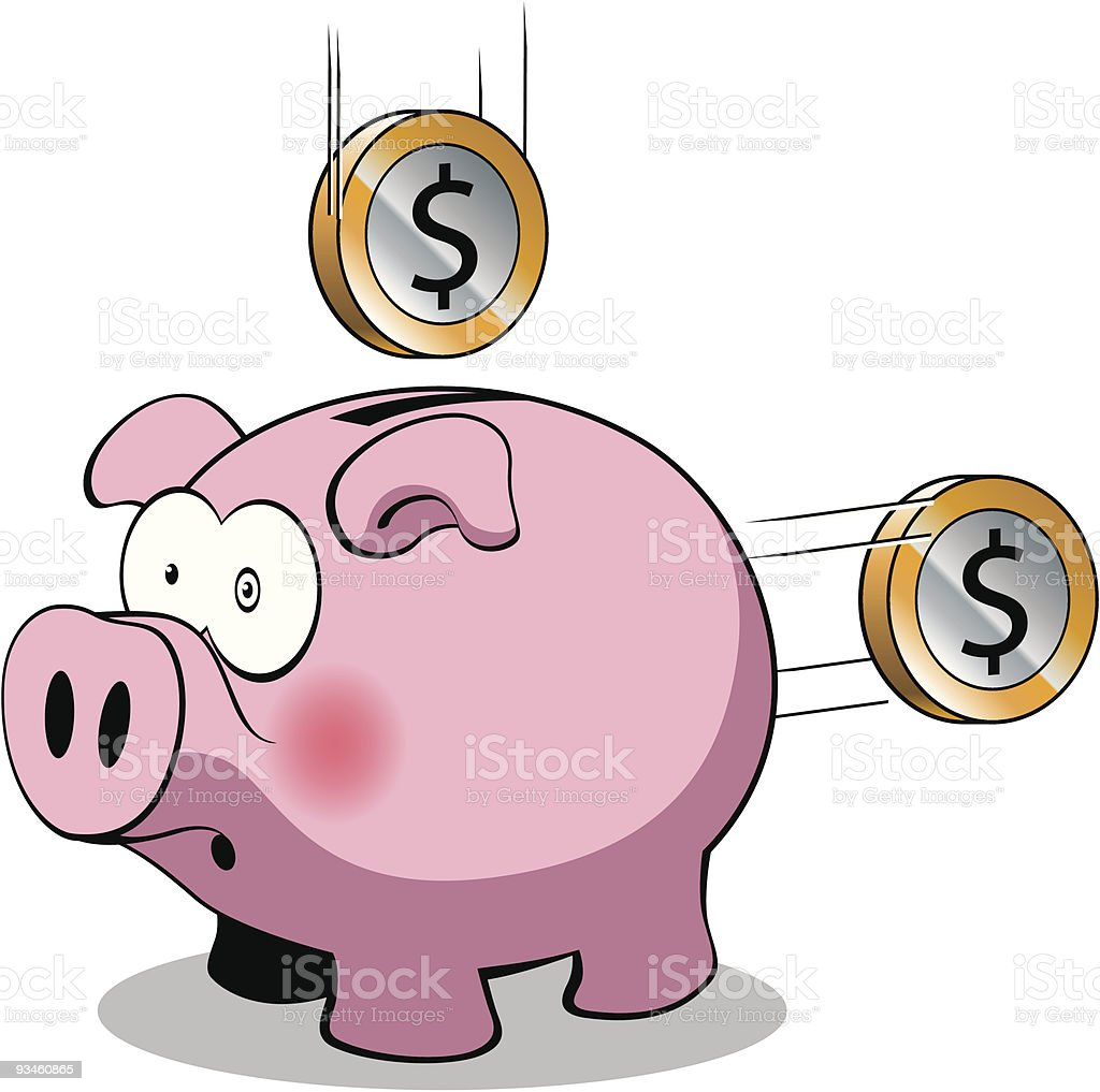 pig and dollar coins royalty-free stock vector art