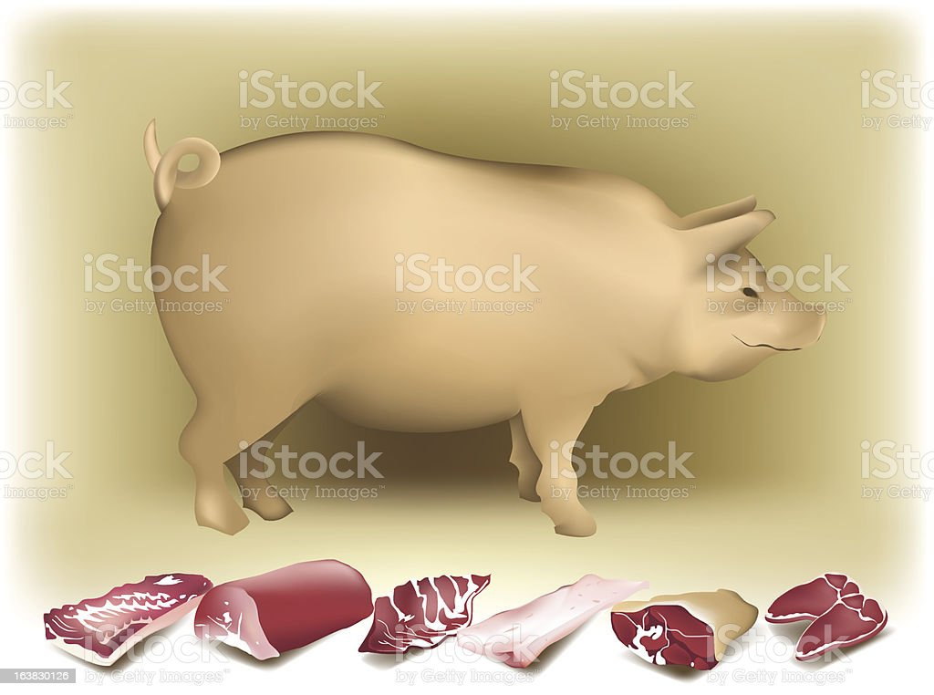 Pig and pork. royalty-free stock vector art