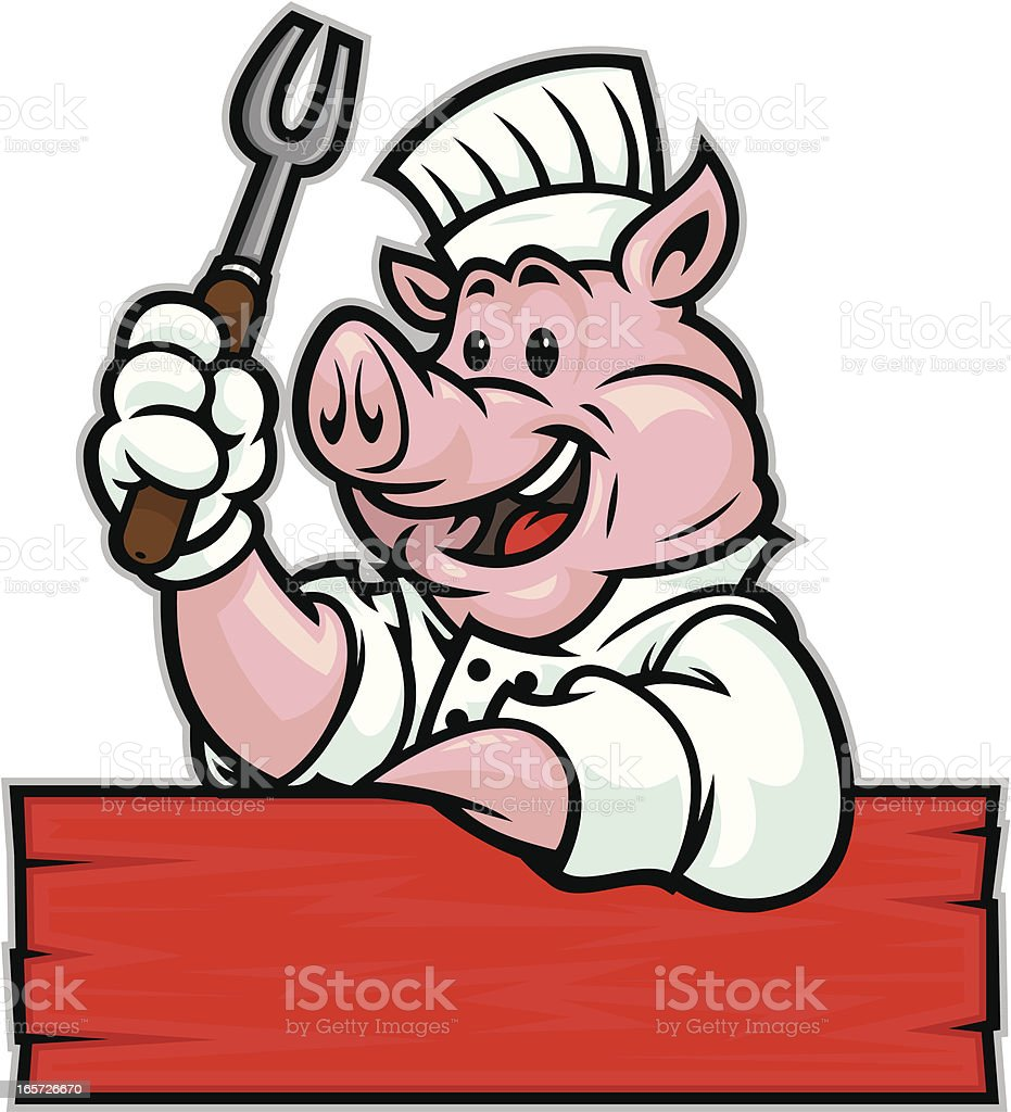 Pig BBQ Chef royalty-free stock vector art