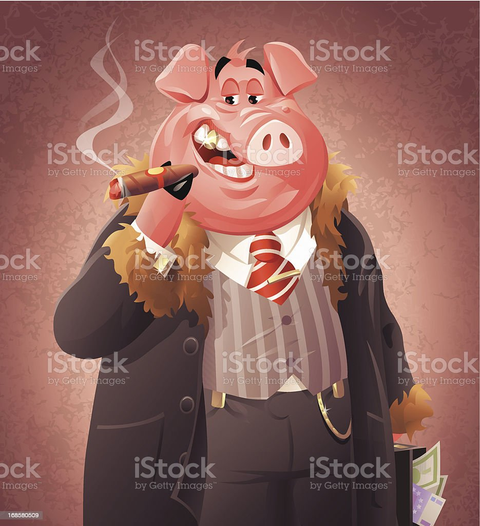 Pig Business vector art illustration