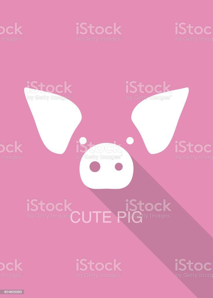 pig cartoon face, flat icon design vector art illustration