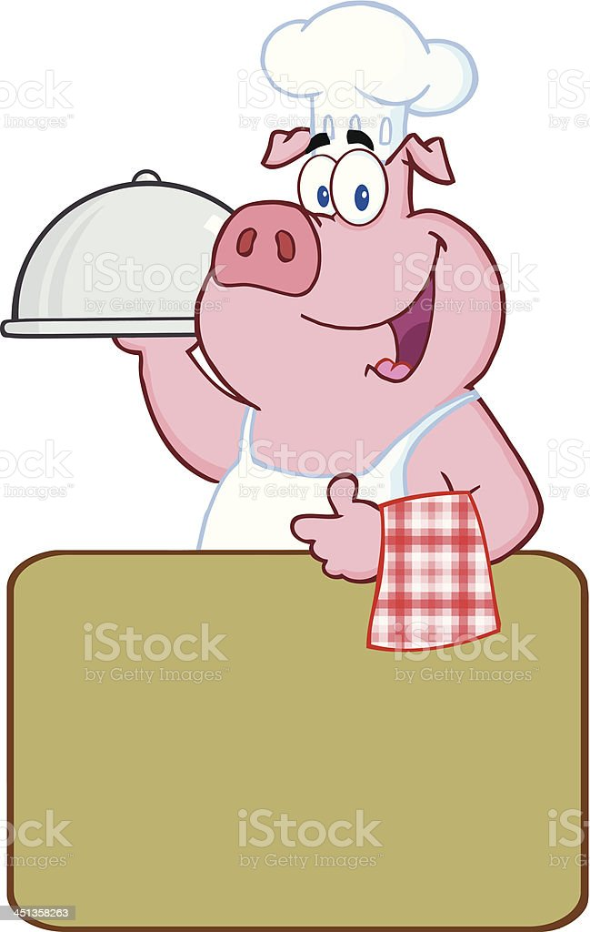 Pig Chef Holding A Platter Over Blank Sign royalty-free stock vector art