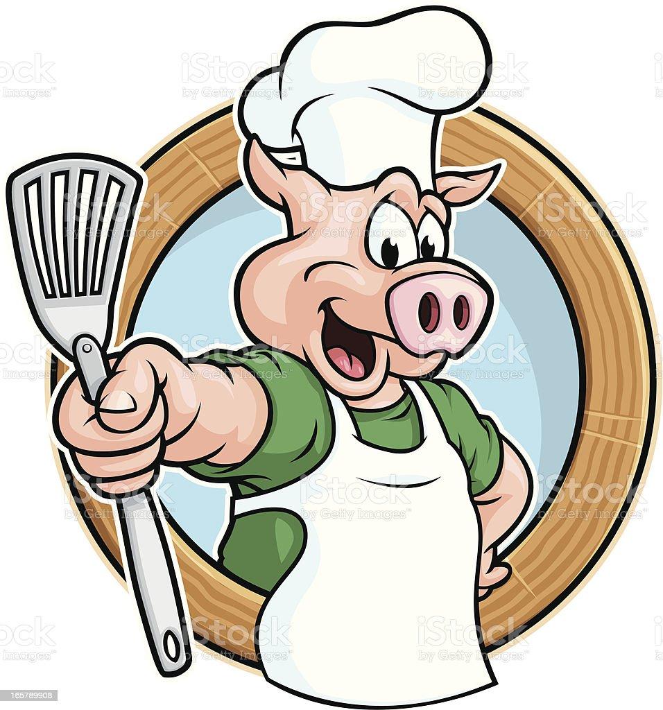 Pig Chef vector art illustration