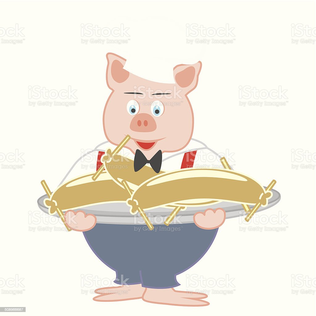 Pig, cook vector art illustration