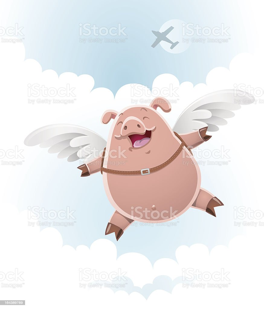 Pig doing skydiving royalty-free stock vector art
