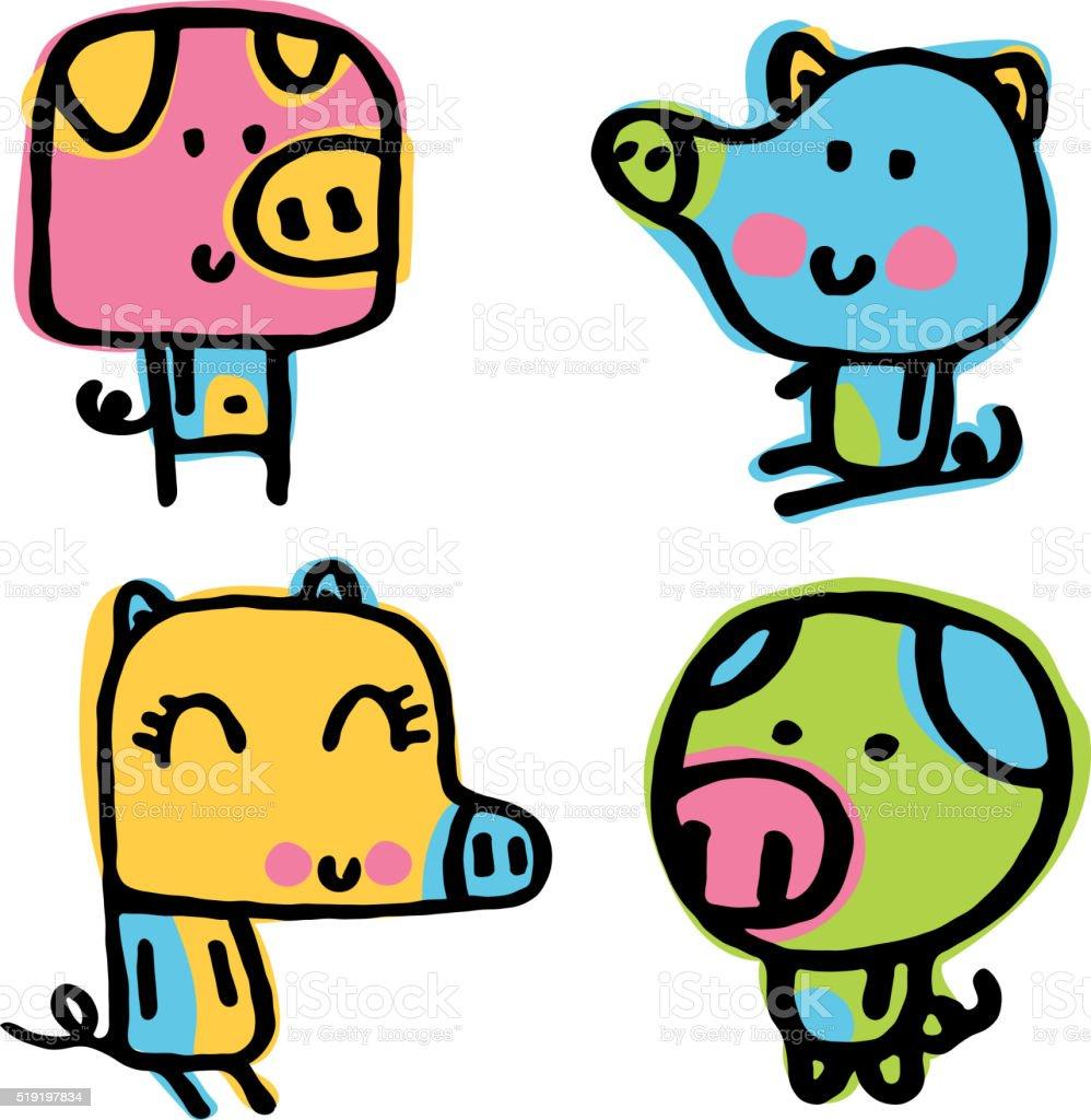 Pig Doodles vector art illustration