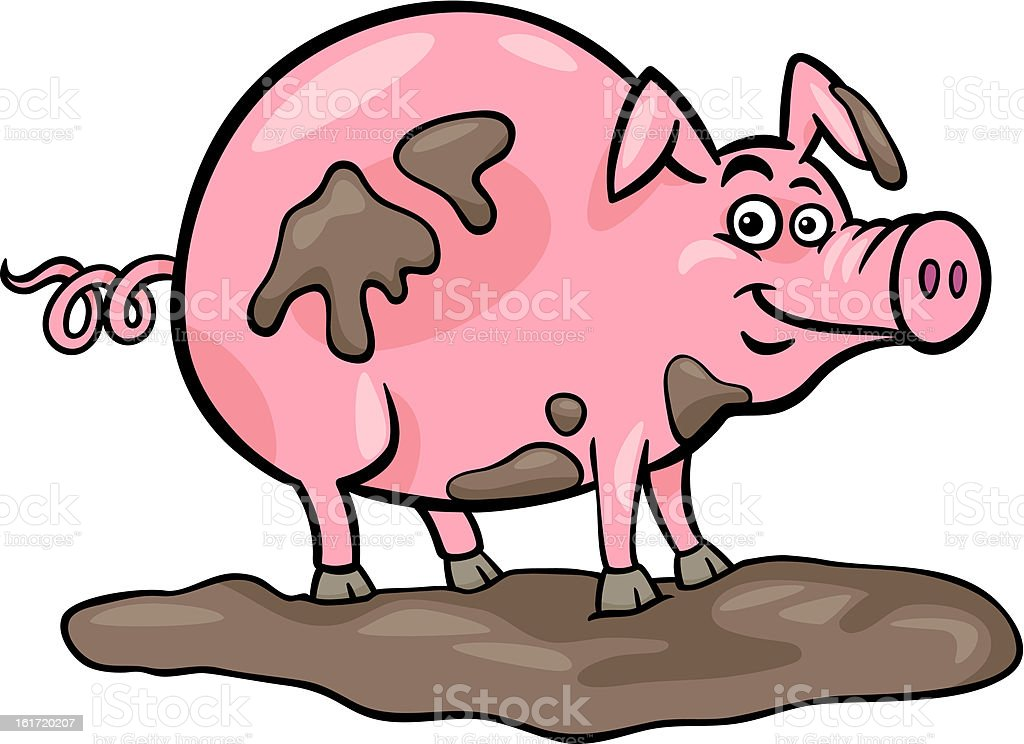 pig farm animal cartoon illustration royalty-free stock vector art