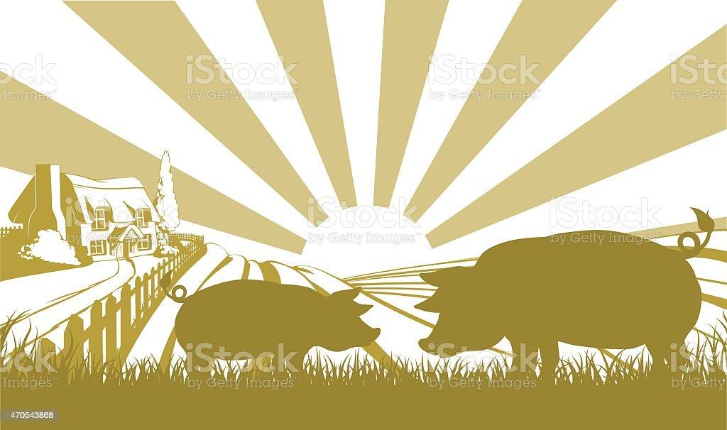 Pig farm scene vector art illustration